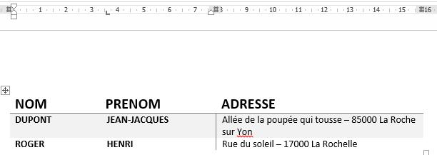 utiliser les tabulations dans un tableau word