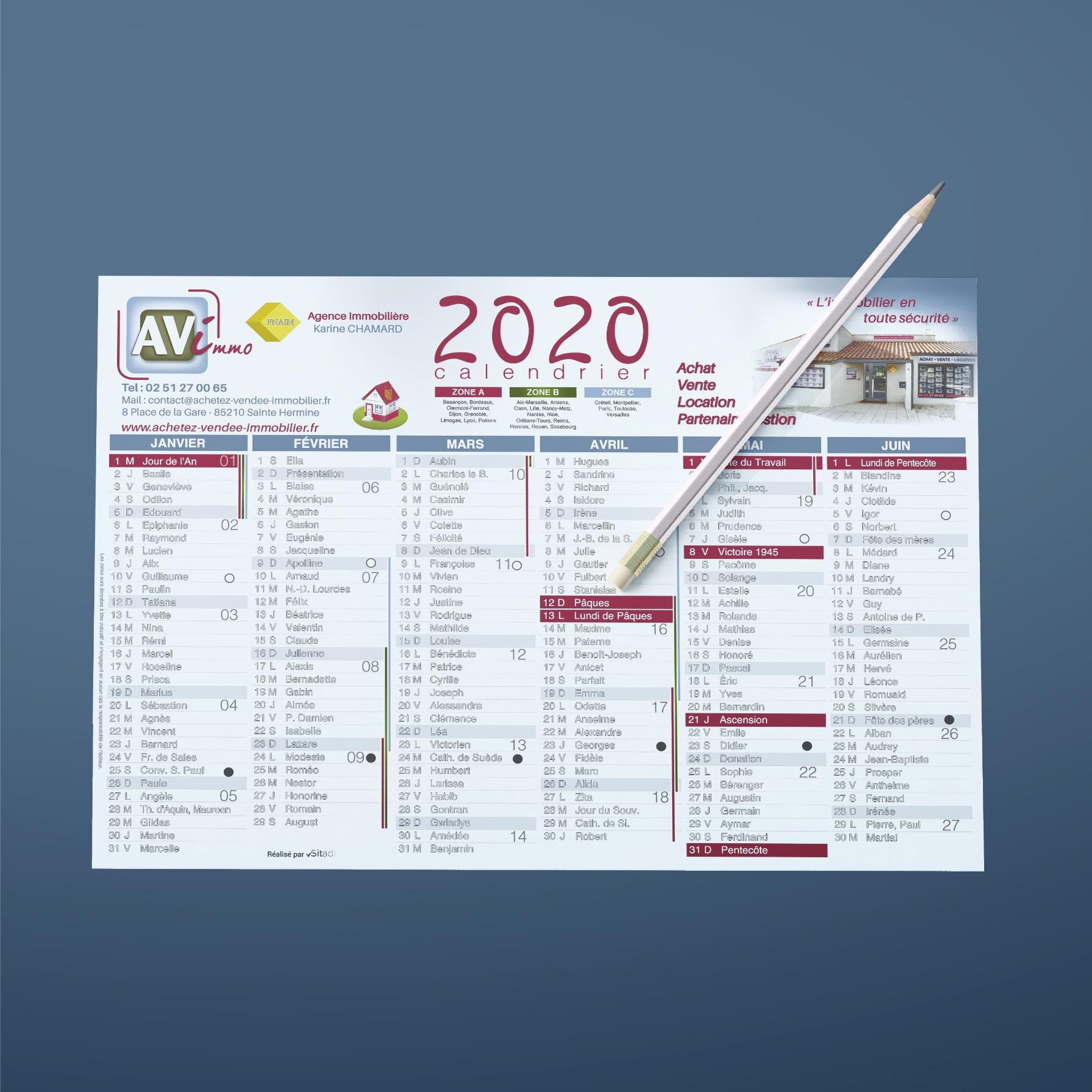 Calendrier Sitadi - Calendrier 2020 AVIMMO